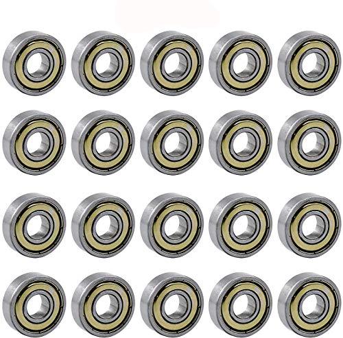 COCOCITY 20 Stück Kugellager für Skateboards 608ZZ Double Shielded Miniatur Rillenkugellager für Motoren, Maschinen, Werkzeuge, Möbel, Sportgeräte, Roller, Spielzeug (8mm x 22mm x 7mm)