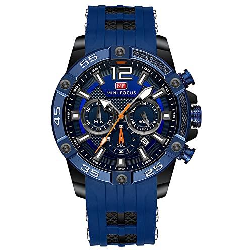 UNUORS Reloj de pulsera para hombre, resistente al agua, de acero inoxidable, con cronógrafo, esfera de cuarzo, analógico, correa de silicona, color azul