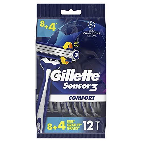 Gillette Sensor3 Cool Rasoirs Jetables Homme, Pack de 12 Rasoirs [OFFICIEL]