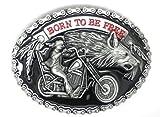 Nacido para ser Libre Motocicleta Chopper Biker Jinete de Lobo y Metal Hebilla de cinturón