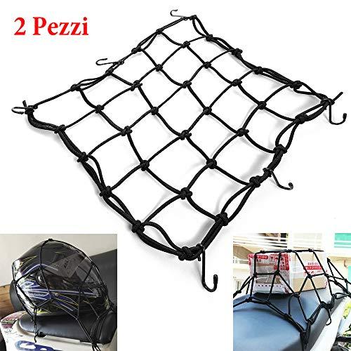 TREONK 2 Stück Gepäcknetz Motorrad 40X40cm Fahrrad Netz Helmnetz mit Haken Spannnetz Sicherungsnetz Elastisch für Motorrad Fahrrad für Befestigung Helm Gepäcktasche mit 6 Haken (Rot)