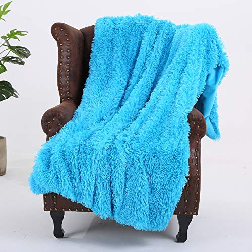"Styho Manta decorativa de pelo sintético supersuave y cálida, microfibra, azul, 63"" x 79"""