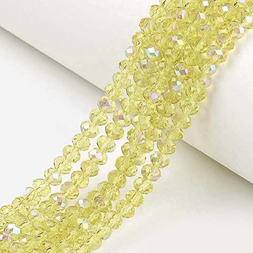 Cheriswelry Rondelle Cuentas de vidrio con 10 hebras de vidrio transparentes chapadas en arcoíris, 4 x 3 mm, espaciadores de cuentas de vidrio para joyería, pulseras, collares, amarillo champán