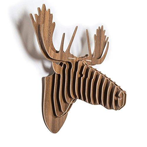 QIANGUANG® Alce Ciervo Cabeza pared Colgando Woodcraft 3D De madera Rompecabezas Construcción Equipo Cabeza animal pared Art Escultura (Marron oscuro)