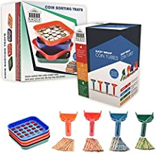 ☑️ The Bundle includes Four Coin Sorting Trays, Four Easy Wrap Coin Tubes and 352 Coin Wrappers. 88 Each of Quarter, Nickel, Dime and Penny Wrappers ☑️ Both Coin Trays and Coin Tubes are Color-Coded to conform to Federal Reserve/ABA standards for coi...