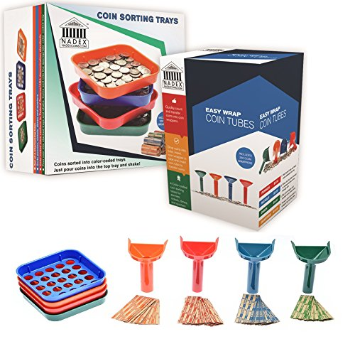 Nadex Sort and Wrap Set with 350 Coin Wrappers - 4 Easy Wrap Coin Tubes and 4 Quick Sort Coin Trays, Color-Coded