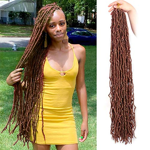 Xtrend 1Packs Nu Faux Locs Crochet Hair 36 Inch Dark Brown Natural Goddess Faux Locs Soft Locs Wavy Dreadlock Crochet Hair Extensions 21strands/pack for Black Women 30#
