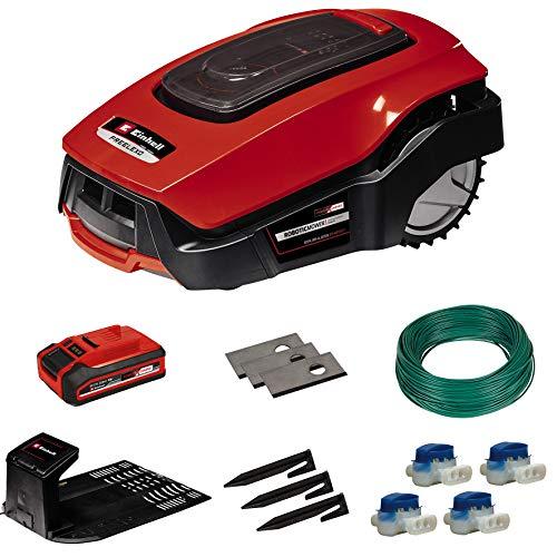 Einhell - Cortacésped robotizada FREELEXO 800 LCD BT Solo Power X-Change (Li-Ion, 18 V, 800 m2, cortacésped multizona, Bluetooth, para hasta un 35%, con accesorios de instalación, 3 Ah batería)