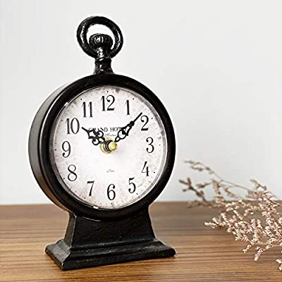 """JUMBO DECOR Vintage Black Cast Iron Table Clock on Stand,Decorative Metal Desk and Shelf Clock,Rustic Mantel Clock for Kitchen,Living Room - Battery Operated - 4.75"""" x 2.55"""" x 7.7"""""""
