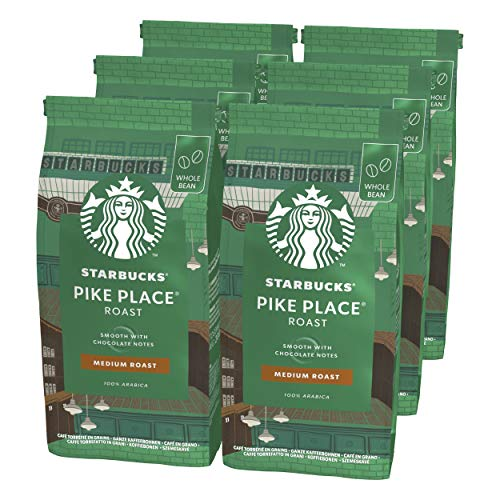 STARBUCKS Pike Place Roast Ganze Kaffeebohnen, Mittlere Röstung (6 x 200g)