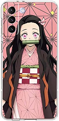 Anime Manga Comic Theme Clear Case for Samsung S21/S30, Demon Slayer Nezuko Printed Case for Girl Boys,Shockproof Soft TPU Gel Edge Bumper Case Full Protection Phone Cover