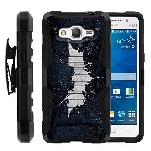 turtlearmor | Kompatibel für Samsung Galaxy Grand Prime Fall | G530[Hyper Schock] Hybrid Dual Layer Rüstung Holster Gürtel Clip Case Ständer -, Bat Signal
