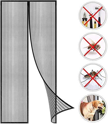CLICSON® - PE5016451 Zanzarie magnetica per porte 120x250cm nera, si richiude da sola, soluzione ecologica alle zanzare!
