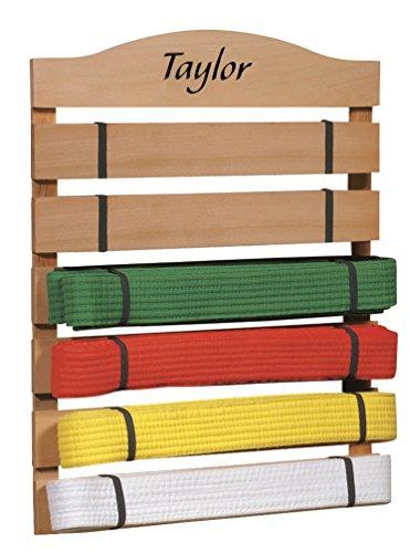 Fox Valley Traders Personalized Karate Belt Rack – Martial Arts Belt Display Wooden Holder