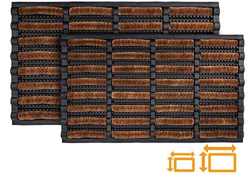 GadHome hochbeanspruchsbare Braun Schwarz Fußmatte 40 x 60 cm | Matte aus Kokosfaser und Gummi für drinnen und draußen | rutschfeste und waschbare Schmutzfangmatte mit Wasserablauflöchern