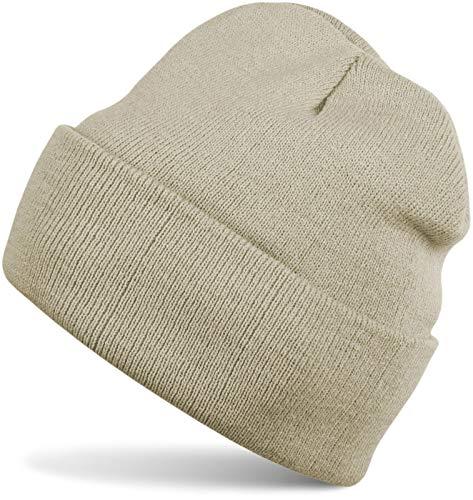 styleBREAKER Unisex warme Beanie Strickmütze, Feinstrick Mütze doppelt gestrickt, Winter 04024029, Farbe:Beige