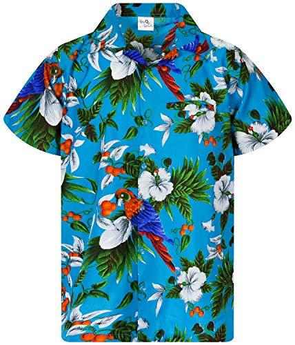 King Kameha Funky Hawaiihemd, Kurzarm, Cherryparrot New, Türkis, M