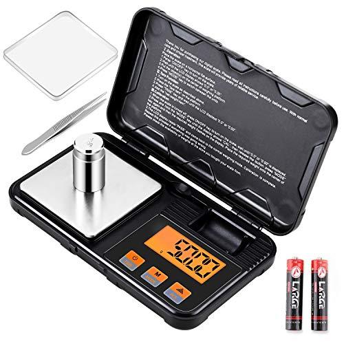 Supkitdin Balance de Précision, 200g / 0,01g, Balance de Poche avec Écran LCD, 50g Poids D'étalonnage, 6 Unités + Tare et Fonction Éteindre Automatique (2 Piles AAA Incluses)