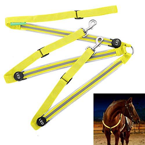 Fliyy Leuchtender Brustgurt für Pferde, USB wiederaufladbar, LED, blinkend, Brustgeschirr, Halsbänder, Nachtausrüstung, beleuchtet REIT-Schutzausrüstung (gelb)