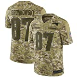 WOCTP Gronkowski Football américain Training Jersey Buccaneers 87#, Hommes Rugby Maillots Respirant Sweat extérieur T-Shirt à Manches Courtes Jersey Black-M(175~180CM)