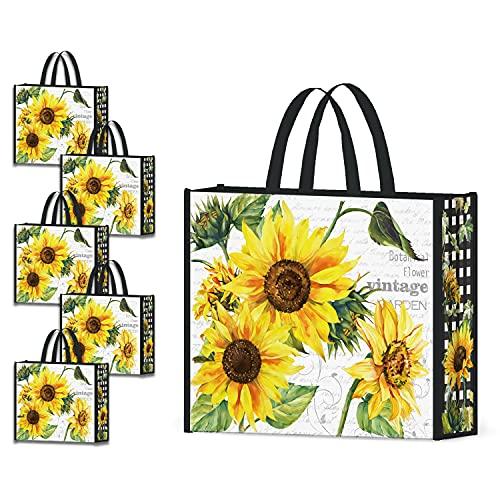 NymphFable 5 Pcs Tote Bag Reutilizables Girasoles Bolsas para Comestibles Grande Bolsa Compra