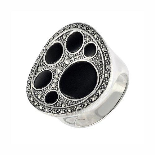 Esse Marcasite Ohrhänger Sterling-Silber schwarzer Onyx und Markasit mit Ring