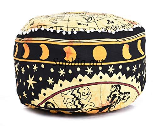 Gansham - Tapiz de mandala indio bohemio hecho a mano para puf otomano, funda de cojín de algodón para el suelo, decoración de la sala de estar, taburete redondo decorativo (sólo la funda)