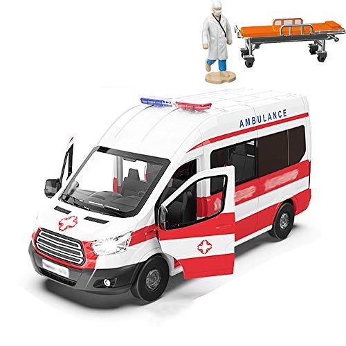 Xolye Simulación de ambulancia de juguete 01:32 aleación ligera de sonido y...