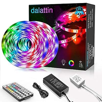 Dalattin Led Strip Lights 32.8ft,2 Rolls of 16.4ft,RGB 5050 Led Lights 300 LEDs Color Changing Kit with 44 Keys Remote Controller and 12V Power Supply Led Light Strips for Bedroom Indoor Decoration