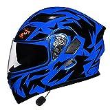 Casco Integral Para Motocicleta Cascos De Motocross Abatibles Modulares Con Bluetooth Integrado Para Hombres Y Mujeres Adultos Certificación DOT Viseras Dobles Casco Ícono De Moto (M-3XL),C,XL