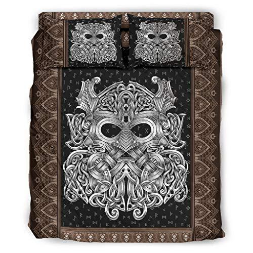 WellWellWell Viking Celtic Odin - Juego de cama de 4 piezas con cremallera, incluye 1 funda de edredón y 1 funda de almohada, 203 x 230 cm, color blanco