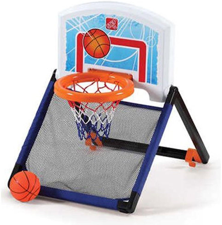 Step2 Floor To Door Toddler Basketball Hoop  Kids Durable Indoor Net Goal Ball Court Toy, Multicolor