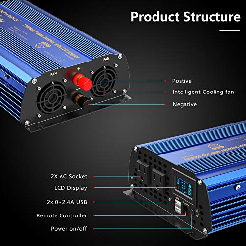 Power Inverter 1100watts DC 12V to AC 120V Modified Sine Wave Inverter with LCD Display Remote Control 2AC Outlets Dual 2.4A USB Ports for Car RV Truck Boat