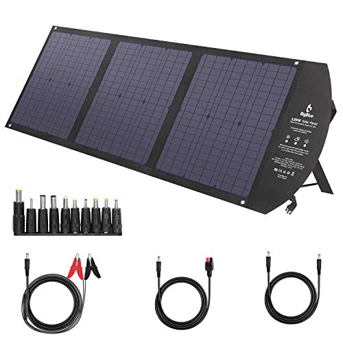 Portable Solar Panels, BigBlue [MPPT Technology] 120W Foldable Camping Solar Charger with 2USB+DC+60W PD Type C with Kickstands for Power Station, Cellphones, Laptops, 12V Car Boat Battery etc.