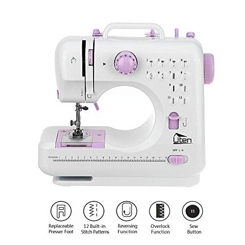 Pequeñas máquinas de coser para el hogar, portátil, para principiantes, 2 velocidades, 12 puntadas