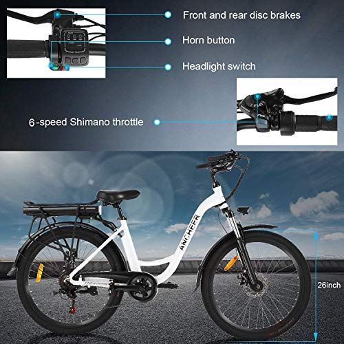 ANCHEER 26' Electric Bike, City Ebike Cruiser with Removable 12.5Ah Battery Integrated in Rear Frame 35 Miles Range Dual Disc Brakes (White)