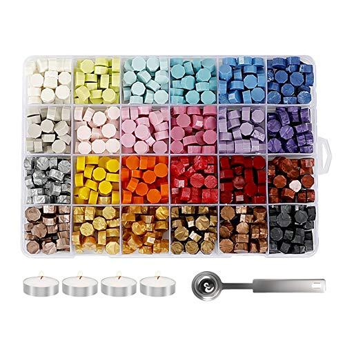 HZWZ Kit di Cera del Timbro di Cera Sigillante, Confezione da 600 Perline di Cera 24 Colori Ottagonali con 4 Candele da tè E 1 Cucchiaio di Fusione per Vintage retrò Lettere Postali