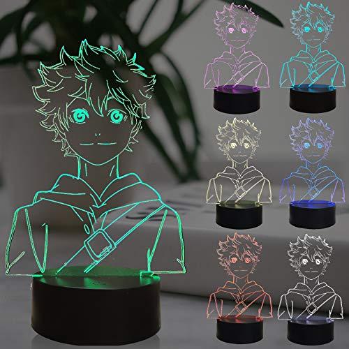Haikyuu - Figuras de anime japonesas, luz nocturna para habitación infantil, mando a distancia, 7 colores