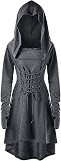 Womens Renaissance Costumes Hooded Robe Lace Up Halloween Medieval Cosplay Cloak Vintage High Low Pullover Dress