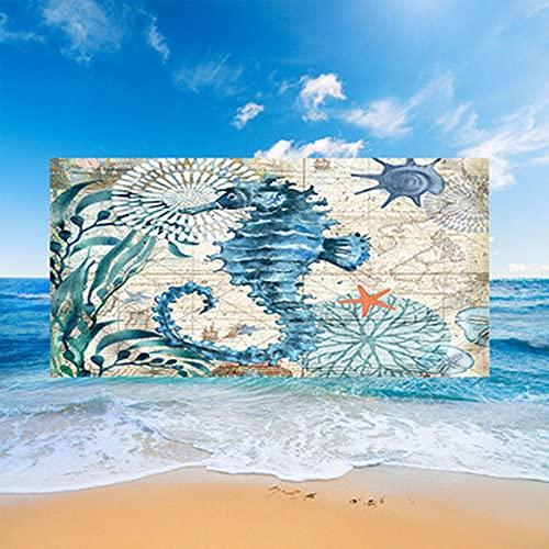 Stillshine. Toallas Playa Grandes Toallas Baño Secado Rápido Absorbentes Microfibra XL XXL, Toallas Tema Animales Marinos 3D Adultos Jóvenes Niños Mantas Hombres (Hipocampo,150x200cm)