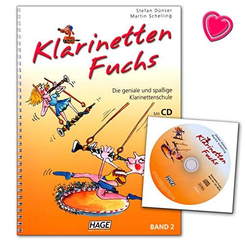 Klarinetten Fuchs Band 2 – Scuola di clarinetto geniale e divertente con CD e clip a forma di cuore colorato – Hage Verlag EH3816 4026929920508