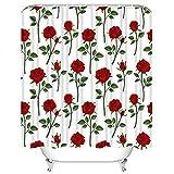 Set di tende da doccia Stelo rosso Floreale Giardino vittoriano inglese Bocciolo di rosa Decorazione semplice in tessuto di poliestere fiorito di bellezza con 12 ganci Impermeabile lavabile 12 asole p