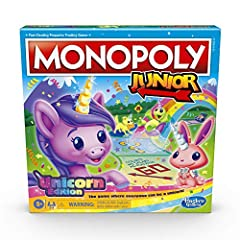 MONOPOLY GAME: UNICORN EDITION: In this Monopoly Junior board game, kids can imagine a magical world and celebrate many kinds of unicorns FUN GAMEPLAY: Kids can send their unicorn token prancing around the board buying everything unicorns love and co...