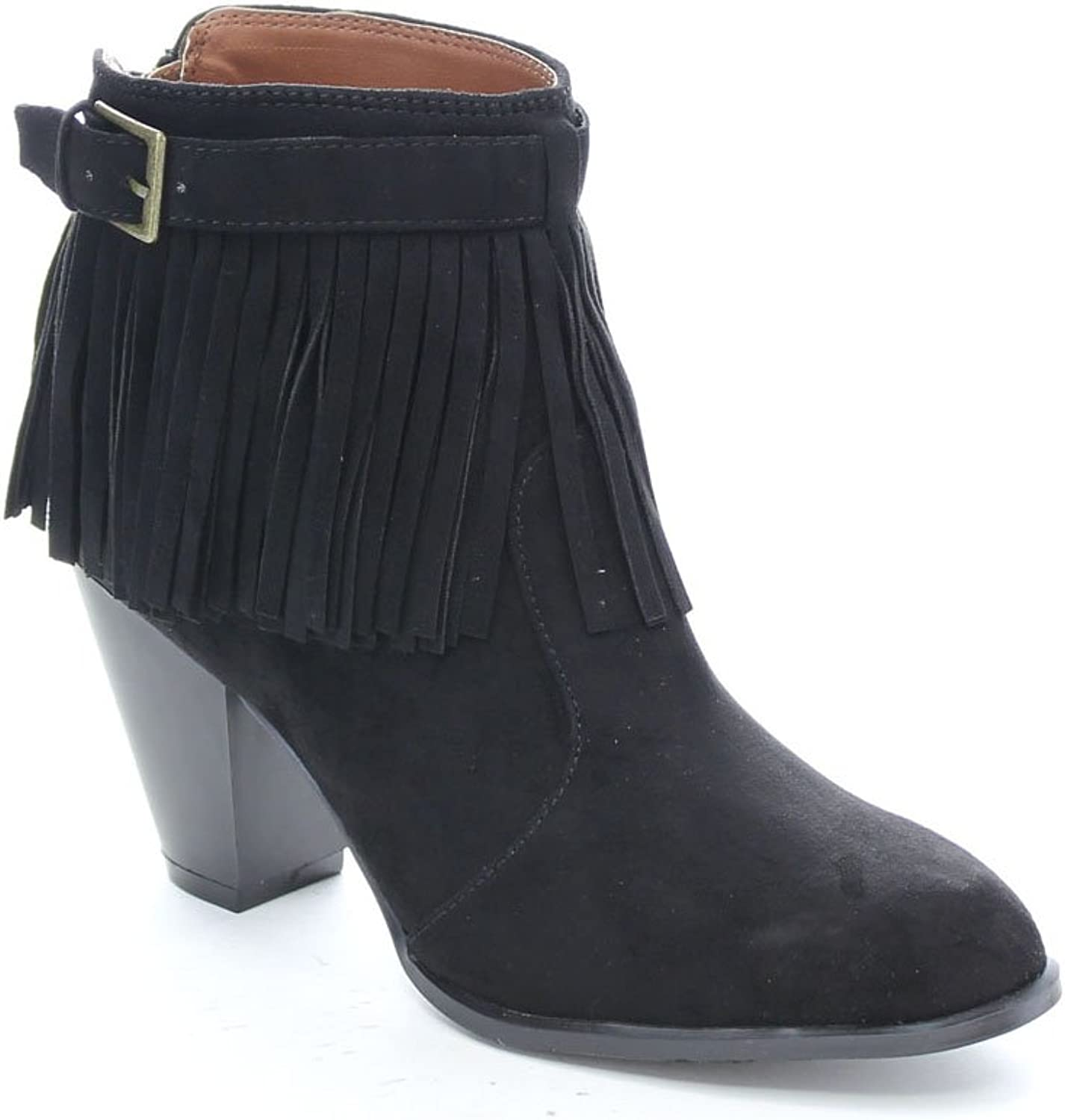 Qupid Salty-21X Women's Fringe Pointy Toe Stacked Chunky Heel Ankle Booties,Black,8.5