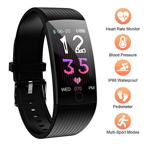 Fitness Tracker, Wasserdicht IP68 Fitness Armband mit Pulsmesser Blutdruck, 1.14 Zoll Farbbildschirm Smartwatch Aktivitätstracker Smart Watch Fitness Uhr für Kinder, Frauen und Männer Android iOS