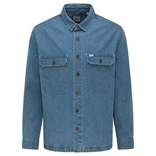 Photo of Lee Men's Workwear Overshirt Denim Shirts, Grey Bala, XXL