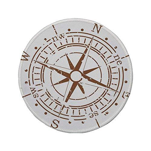 Rutschfreies Gummi-Rundmauspad Kompass Navigationsgerät des Zeitalters der Entdeckung Windrose Faded Design Bootssteuerung Dekorativ Hellbraun 7.9