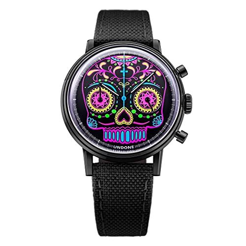 Undone Calavera - Reloj unisex con cronógrafo híbrido de cuarzo mecánico de acero negro fluorescente