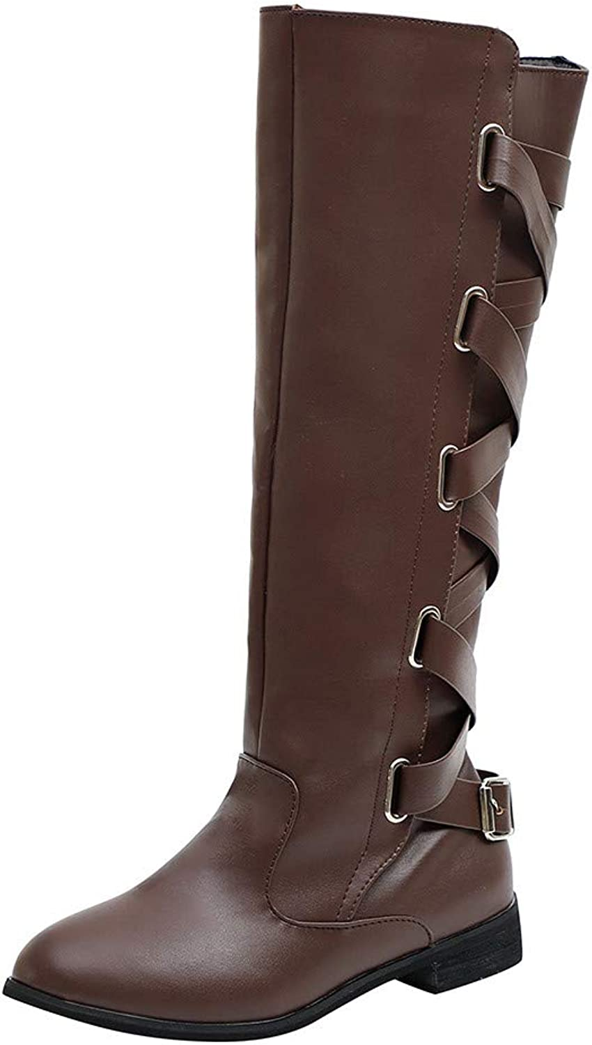 Amaping Womens Lace Up Buckle Over The Knee Stretch Martin Boots