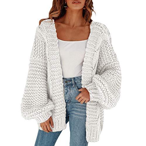 Vertvie Femmes Gilet Court Cardigan Veste en Tricot Chaud Hiver Pull Tricoté Casual Grosse Maille Pull Outwear Blouson Chandail Sweater Outwear Mode
